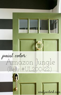 Gorgeous front door color! It's Amazon Jungle by Behr. From Emily Clark