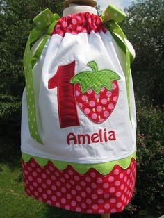 strawberry+applique+pillowcase+dress+by+Paulajeanoriginals+on+Etsy,+$29.99