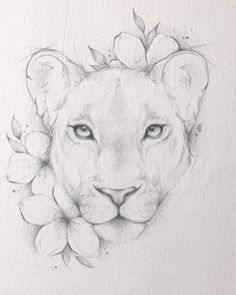 Animal Sketches, Art Drawings Sketches, Animal Drawings, Tattoo Drawings, Lioness Tattoo Design, Lion And Lioness Tattoo, Simple Lion Tattoo, Lion Sketch, Female Lion