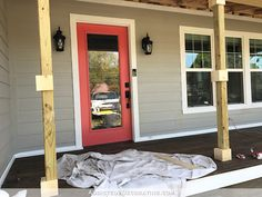 How To Wrap Front Porch Posts (Turn Skimpy Front Porch Posts Into Pretty Columns) - Part 1 - Addicted 2 Decorating® House With Porch, Front Porch Posts, Porch Design, Porch Flooring, Porch Remodel, Porch Railing, Porch Kits, Rustic Porch, Building A Porch