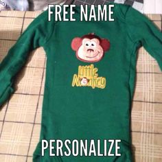Green long sleeve newborn monkey onesie Free name once buy Carters  Other