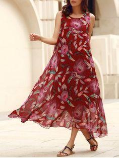 Bohemian Scoop Neck Sleeveless Feather Print Women's Dress