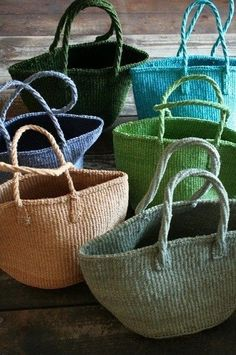"Bags ""Fill the baskets with summers bounty ."", ""Totes & Bags for summer"", ""This post was discovered by Bellflower Textiles"", "" X ღɱɧღ"" My Bags, Purses And Bags, Basket Bag, Summer Bags, Knitted Bags, Wicker Baskets, Straw Bag, Paisley, Tote Bag"