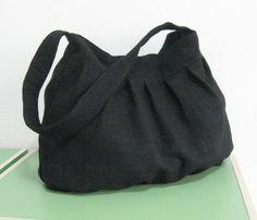 Sale - Black Hemp/Cotton Bag - Shoulder bag, Diaper bag, Messenger bag, Tote, Travel bag, Women, Purse - Jill