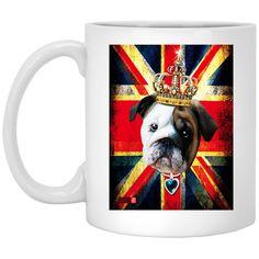 50 ENGLISH BULLDOG BABY BULLY UNION JACK UK FLAG I MENS PREMIUM XP8434 11 oz. White Mug