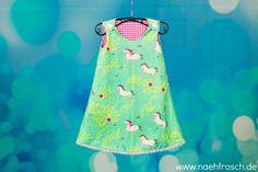 Nähfrosch  türkis-mint farbenes Kleid nach Schnittmuster Freebie von Alles-für-Selbermacher aus Stoff Summer Ride von Michael Miller  Nähen Sewing for Kids