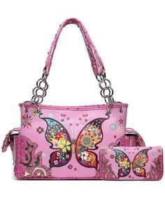 Buy Butterfly Western Concealed Country Shoulder - Pink Set - and More Fashion Bags at Affordable Prices. Fashion Handbags, Tote Handbags, Purses And Handbags, Fashion Bags, Women's Fashion, Tote Purse, Backpack Bags, Betty Boop Purses, Spring Purses