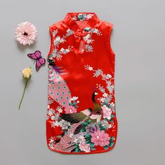 2016 de La Moda de Aves de Flores de Estilo Chino Qipao Vestido de Paño de Los Niños hijos de Algodón Sin Mangas Del Verano de La Muchacha del Vestido(China (Mainland))