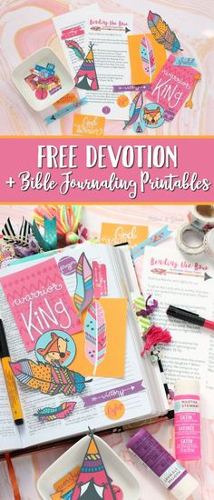 Get creative in your Bible with this FREE devotion and printable Bible journaling goodies! This tribal-themed printable journaling set includes hand-drawn art, journaling cards, tabs, feathers, and hand-lettered tabs and circles. Download yours today! pitterandglink.com