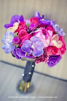 pink purple amaranth fuchsia wedding bouquet flowers by MzMely