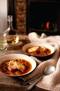 This classic recipe for french onion soup is a winter warmer and the gruyere toasts top it off perfectly.
