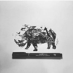 Fierce by @pentasticarts #ebda3media #creative #media #art #artist #draw #drawing #rhino #animal #nature #africa #giraffe #instamood #surrealism #ink #pen #nawden #artfido #instafollow #shoutout #instaart #instagram #instaanimal #instagood . 〰〰〰〰〰〰〰〰〰〰〰〰〰〰〰〰〰〰〰〰〰〰 . رسمة سيرياليه لوحيد القرن مع حيوانات اخرى للرسام @pentasticarts #ابداع #رسم #رسمه #حيوانات #طبيعه #كلنا_رسامين