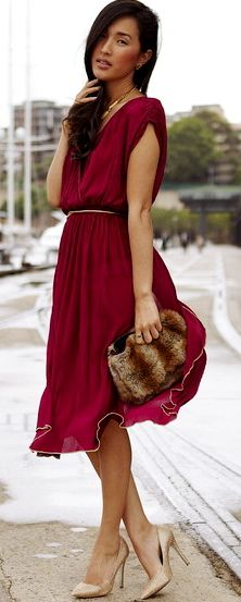 Vintage Dress paired with Gold Heels