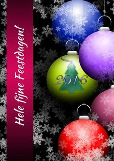 Een mooie sfeervolle kerstkaart met gekleurde kerstballen. De tekst op de band kun je veranderen. Voor familie,vrienden en zakelijke relaties.