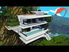 How to Make a MODERN Minecraft CLIFF HOUSE Todays minecraft house is a little more like a modern mansion, this minecraft tutorial should give you buil. Minecraft Cliff House, Minecraft Modern Mansion, Big Minecraft Houses, Casa Medieval Minecraft, Minecraft City Buildings, Minecraft House Plans, Minecraft House Tutorials, Minecraft Room, Minecraft House Designs