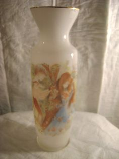 """GIFTCRAFT-FROSTED GLASS VASE-ROMANTIC THEME-8"""" TALL-"""