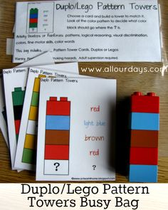 Duplo Lego Pattern Towers Busy Bag #freeprintable (Part of the 31 Days of Busy Bags & Quiet Time Activities @ AllOurDays.com)