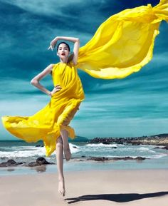 Yellow on the beach.