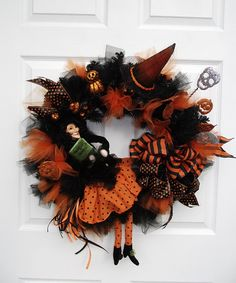 orange and black witch wreath halloween wreath halloween decor halloween decoration by english rose deisgns oh