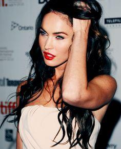 Red lipstick, dark hair