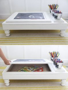 How to build a child's desk from a cabinet face, using a salvaged kitchen cabinet. Desk has a storage compartment, chalkboard, and holders for school supplies. Old Cabinets, Unfinished Cabinets, Art Desk, Diy Door, Repurposed Furniture, Diy Kids Furniture, Handmade Furniture, Door Desk, Diy Projects Kitchen Cabinets