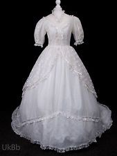 Vintage Wedding Dress 1980s Lace Victorian Belle Huge Train 10 R508