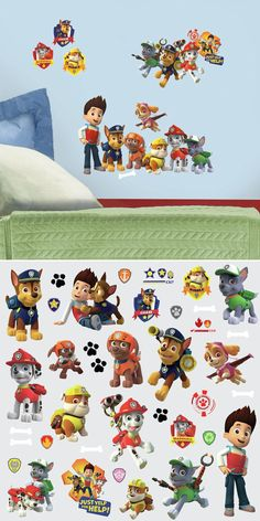 Paw Patrol Peel and Stick Decals - Wall Sticker, Mural, & Decal Designs at Wall Sticker Outlet Disney Wall Murals, Kids Wall Murals, Murals For Kids, Paw Patrol Wall Decals, Wall Sticker, Dinosaur Kids Room, Wall Decor, Kids Rugs, Birthday