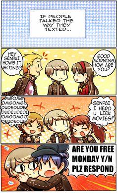Persona 4 - If people talk the way they text. Persona Q, Yu Narukami, Shin Megami Tensei Persona, Accel World, Akira Kurusu, Skullgirls, Love Live, Lol, Homestuck