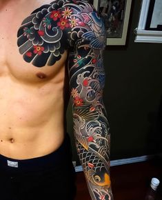 Japanese Sleeve Tattoo - Best Japanese Tattoos For Men: Cool Japanese Style Tattoo Designs and Ideas For Guys: Asian Body Art on Sleeve Arm Chest Forearm Back Shoulder and Leg Japanese Tattoo Koi, Traditional Japanese Tattoo Sleeve, Japanese Tattoo Meanings, Japanese Tattoos For Men, Japanese Dragon Tattoos, Japanese Tattoo Designs, Japanese Sleeve Tattoos, Japanese Forearm Tattoo, Koi Dragon Tattoo