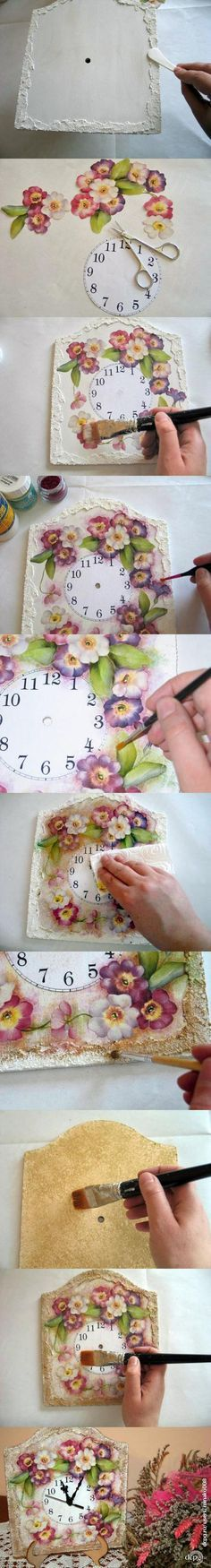 tuto pendule- tuto pendule Clock decorated with decoupage technique ✿⊱╮ - Decoupage Tutorial, Decoupage Art, Decoupage Vintage, Fun Crafts, Diy And Crafts, Arts And Crafts, Paper Crafts, Craft Projects, Projects To Try