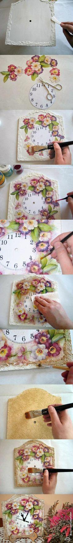 Reloj decorado con la técnica decoupage ✿⊱╮