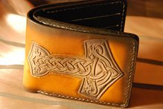 Thor Hammer Veg tan leather Bifold mens wallet  handcrafted