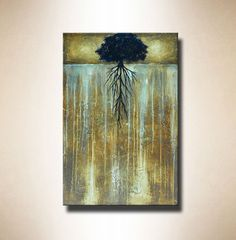 Abstract Tree Painting with Heavy Texture  24 x by BrittsFineArt, $315.00