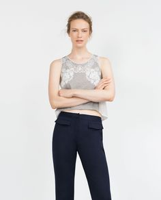 TOP WITH EMBROIDERED FRONT | ZARA saved by #ShoppingIS