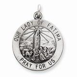 Sterling Silver Antiqued Our Lady of Fatima Medal, Charm