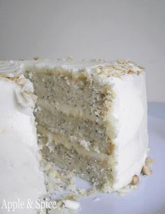 Lemon Poppy Seed Cake with Cream Cheese Almond Frosting