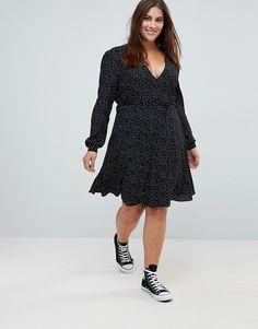 Glamorous Curve Wrap Front Dress In Spot 11b7bdeebf0d