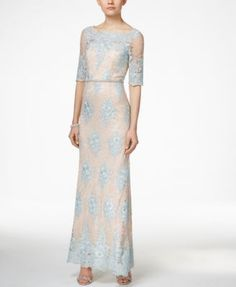Could do a poppin top for this dress Tahari ASL Embellished Lace Dress