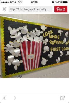 The best back to school bulletin board ideas to dress up the school this year. These back to school bulletin board ideas will get kids excited. Back To School Bulletin Boards, Preschool Bulletin Boards, Classroom Bulletin Boards, Classroom Door, Classroom Themes, Bullentin Boards, Popcorn Bulletin Boards, Popcorn Theme Classroom, January Bulletin Board Ideas