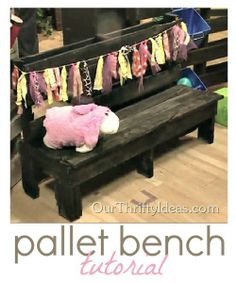 DIY Pallet Bench by Our Thrifty Ideas. I want to try for Ryan in the garden. Looks like I may need to buy a nail gun.