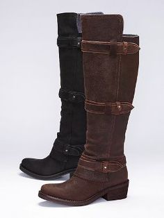 Too expensive but i like! Tough girl chic comes in the form of the Calvin Klein Triple-strap Riding Boot from Calvin Klein Jeans. Slightly distressed leather adds a touch of rugged appeal. The low wedge heel adds just enough height.