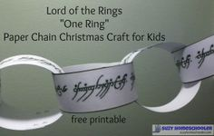 Lord of the Rings One Ring Free Printable Paper Chain Christmas Tree Craft