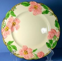"""10"""" Dinner Plate in the Original Hand Painted 1940s Desert Rose (USA) dinnerware pattern by Franciscan Ware, Made in California, USA."""
