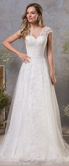 Chic Tulle V-neckk Neckline A-line Wedding Dress With Lace Appliques