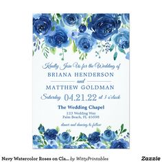 Shop Navy Watercolor Roses on Classic White Wedding Invitation created by WittyPrintables. Navy Blue Flowers, Blue Roses, Blue Orchids, Blue Wedding Invitations, Elegant Invitations, Watercolor Rose, Watercolor Wedding, Rose Wedding, Wedding Card