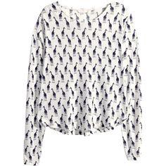 H&M Patterned jersey top (1.885 HUF) ❤ liked on Polyvore featuring tops, print top, long sleeve tops, white jersey, long sleeve jersey top and white long sleeve top