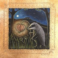 Badger in pencil with 22ct gold leaf. Hannah Willow