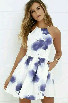 An island beauty deserves an equally stunning wardrobe, which is where the Morning in Mykonos Purple and Ivory Floral Print Dress comes in! Ivory satin fabric, with a whimsical violet floral print, shapes an apron neckline and plunging back, supported by Hoco Dresses, Pretty Dresses, Beautiful Dresses, Spring Formal Dresses, Banquet Dresses, Mini Dresses, Backless Dresses, Beautiful Beach, Purple Grad Dresses
