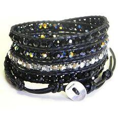 Chan Luu Black Crystal Mix Wrap Bracelet on Black Leather