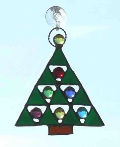Triangle Christmas Tree Stained Glass Ornament